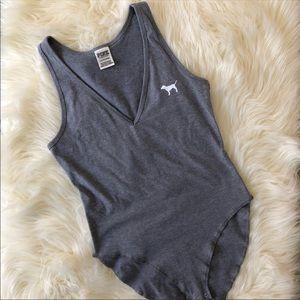 Victoria's Secret PINK Gray Dog Logo Bodysuit